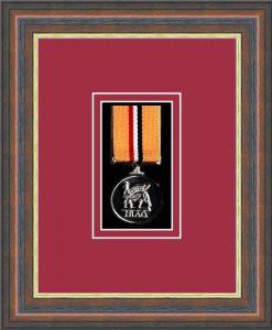 Military Medal Frame – M1-45F Mahogany-Beaujolais Mount