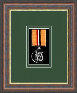 Military Medal Frame – M1-45F Mahogany-Forest Green Mount
