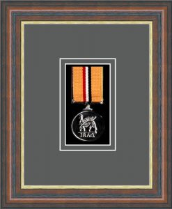 Military Medal Frame – M1-45F Mahogany-Grey Mount