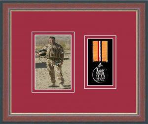 Military Medal Frame – M1PH-78F Dark Walnut-Beaujolais Mount