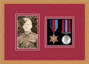 Military Medal Frame – M2PH-98F Light Woodgrain-Beaujolais Mount
