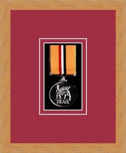 Military Medal Frame – M1-98F Light Woodgrain-Beaujolais Mount