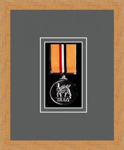 Military Medal Frame – M1-98F Light Woodgrain-Grey Mount