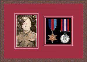 Military Medal Frame – M2PH-99F Dark Woodgrain-Beaujolais Mount