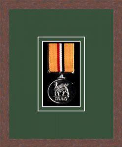 Military Medal Frame – M1-99F Dark Woodgrain-Forest Green Mount