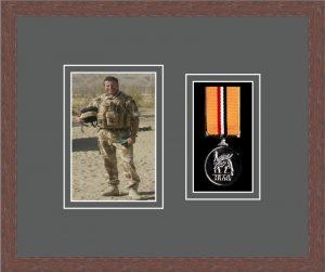 Military Medal Frame – M1PH-99F Dark Woodgrain-Grey Mount
