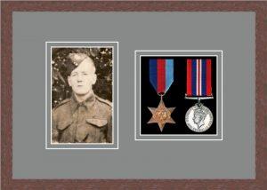 Military Medal Frame – M2PH-99F Dark Woodgrain-Grey Mount