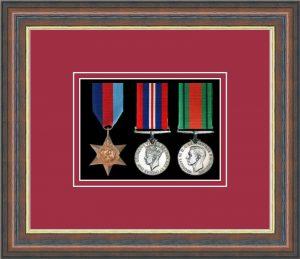Military Medal Frame – M3-45F Mahogany-Beaujolais Mount