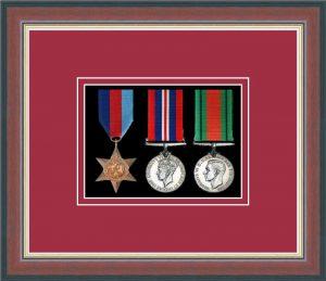 Military Medal Frame –  M3-78F Dark Walnut-Beaujolais Mount