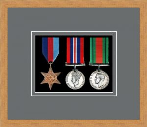 Military Medal Frame – M3-98F Light Woodgrain-Grey Mount