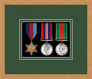 Military Medal Frame – M3-98F Light Woodgrain-Forest Green Mount