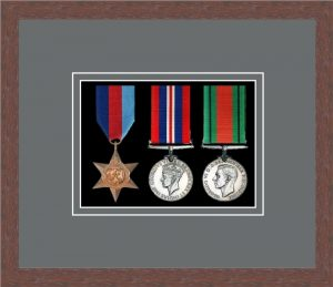 Military Medal Frame – M3-99F Dark Woodgrain-Grey Mount