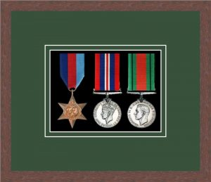 Military Medal Frame – M3-99F Dark Woodgrain-Forest Green Mount