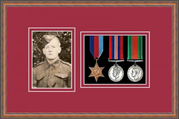 Teak picture frame for three military medals/photo with beaujolais mount