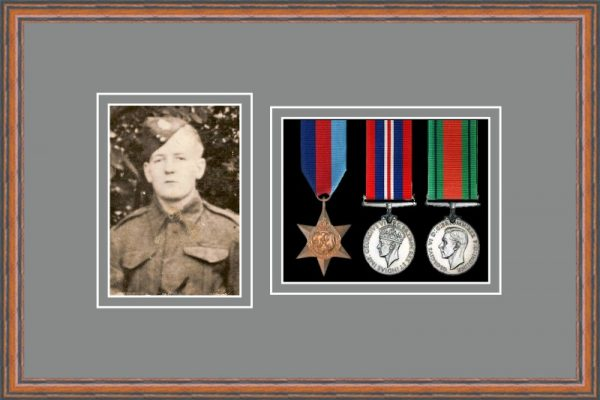 Teak picture frame for three military medals/photo with grey mount