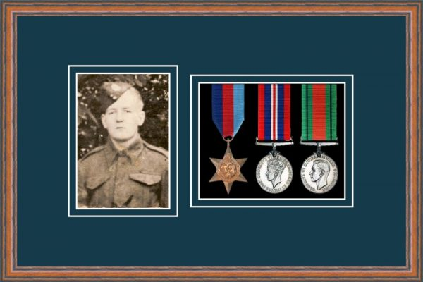 Teak picture frame for three military medals/photo with nightshade mount