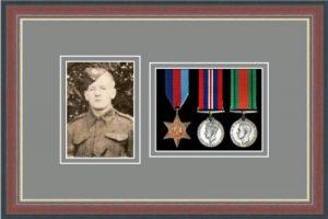 Military Medal Frame – M3PH-78F Dark Walnut-Grey Mount