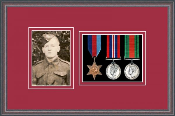 Oak picture frame for three military medals/photo with beaujolais mount