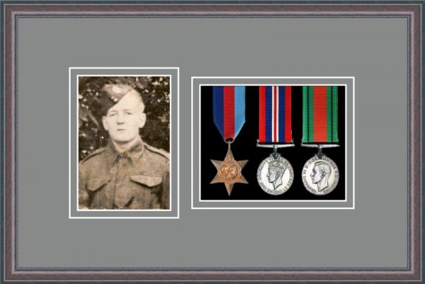 Oak picture frame for three military medals/photo with grey mount