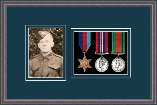 Oak picture frame for three military medals/photo with nightshade mount
