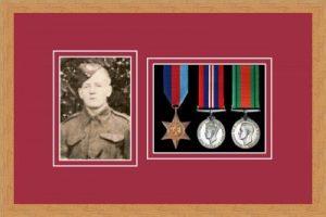 Military Medal Frame – M3PH-98F Light Woodgrain-Beaujolais Mount