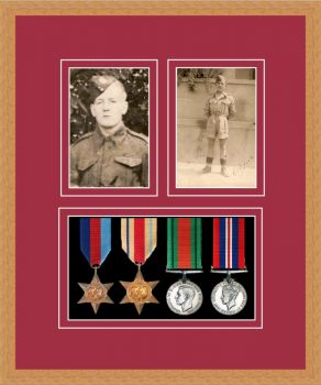Military Medal Frame – M9-98F Light Woodgrain-Beaujolais Mount