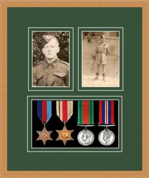 Military Medal Frame – M9-98F Light Woodgrain-Forest Green Mount
