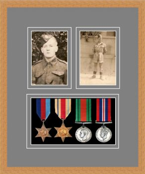Military Medal Frame – M9-98F Light Woodgrain-Grey Mount
