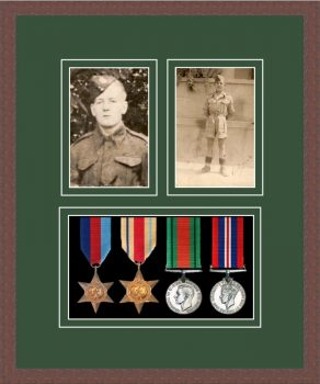 Military Medal Frame – M9-99F Dark Woodgrain-Forest Green Mount