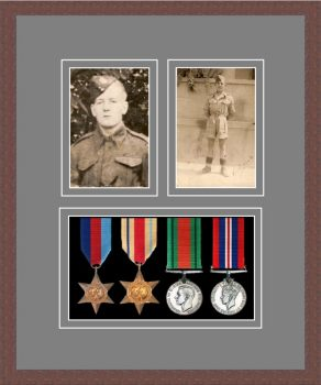 Military Medal Frame – M9-99F Dark Woodgrain-Grey Mount