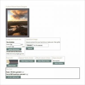 Picture frame designer selection page