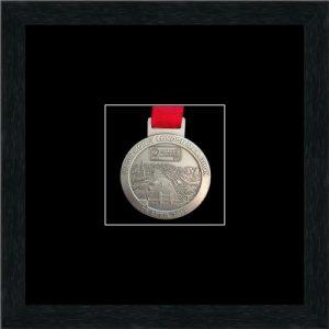 Black picture frame for one marathon medal with black mount