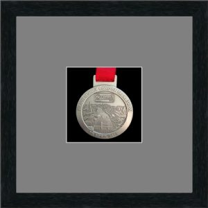 Marathon Medal Frame – S1-192H Black woodgrain-Grey Mount
