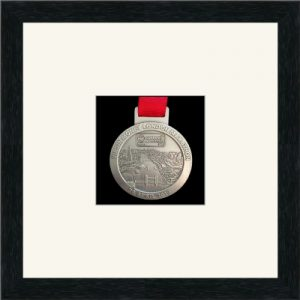 Marathon Medal Frame – S1-192H Black Woodgrain-Antique White Mount