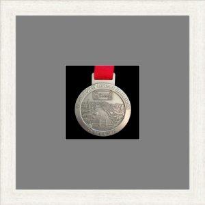 Marathon Medal Frame – S1-193H White Woodgrain – Grey Mount