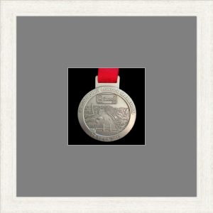White woodgrain picture frame for one marathon medal with grey mount