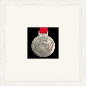 Marathon Medal Frame – S1-193H White Woodgrain-Antique White Mount