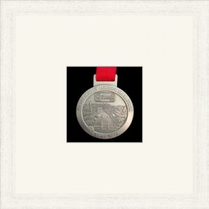 White woodgrain picture frame for one marathon medal with antique white mount
