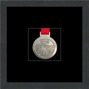 Marathon Medal Frame – S1-194H Dark Grey Woodgrain – Black Mount