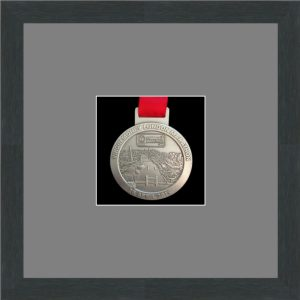 Marathon Medal Frame – S1-194H Dark Grey Woodgrain – Grey Mount