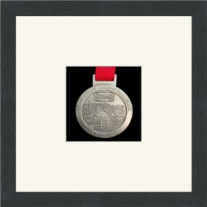 Dark grey woodgrain picture frame for one marathon medal with antique white mount