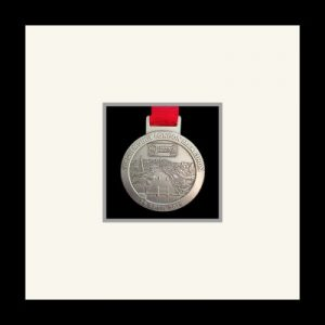 Black picture frame for one marathon medal with grey mount