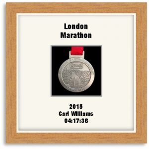 Personalised S1 Light Woodgrain Marathon Medal Frame