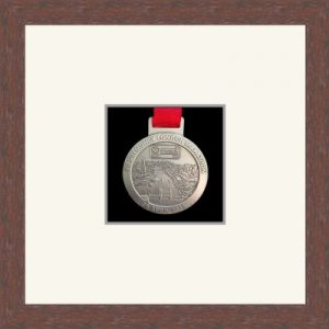 Dark woodgrain picture frame for one marathon medal with antique white mount