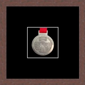 Marathon Medal Frame – S1-99F Dark Woodgrain-Black Mount