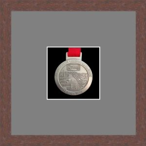 Dark woodgrain picture frame for one marathon medal with grey mount