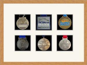 Marathon Medal Frame – S12-98F Light Woodgrain-Antique White Mount