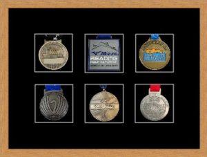 Marathon Medal Frame – S12-98F Light Woodgrain-Black Mount