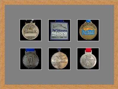 Marathon Medal Frame – S12-98F Light Woodgrain-Grey Mount