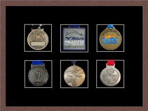 Marathon Medal Frame – S12-99F Dark Woodgrain-Black Mount